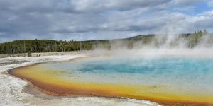 A view of a hot spring at the Upper Geyser Basin at Yellowstone National Park on May 11, 2016. Yellowstone, the first National Park in the US and widely held to be the first national park in the world, is known for its wildlife and its many geothermal features. / AFP / MLADEN ANTONOV (Photo credit should read MLADEN ANTONOV/AFP/Getty Images)
